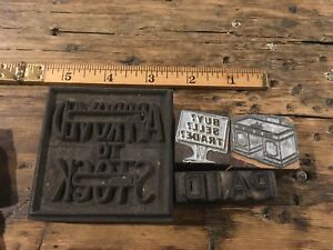 Vintage Printing Letterpress Printers Block Asst Business Paid From The Desk Of