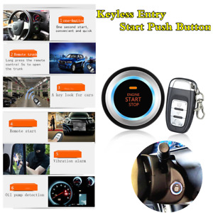 Car Alarm System Security Kit Keyless Entry Push Button Remote Engine Start stop