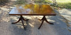 Antique Mahogany Duncan Phyfe Double Pedestal Dining Room Table