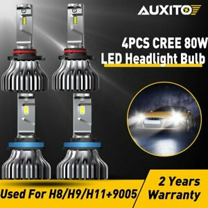 4pc 9005 H11 80w Led Headlight Cree Fanless 18000lm Kit High Low Beam Bulb 6500k