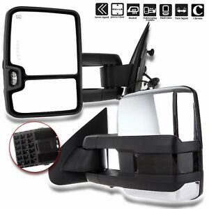 Scitoo Fit Chevy Gmc Towing Mirrors Chrome Rear View Mirrors Fit 2014 2018 Ch