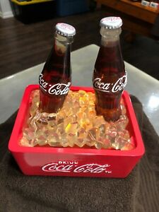 Coca-Cola 2 Bottle Lighted Musical Ice Fountain Cooler Collectible New W/box