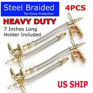 4pcs Truck Rv 7 Braided Stainless Steel Dual Tire Valve Stem Extension Adaptors