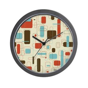 Mid Century Modern Style Round Multi Color Geometric Wall Clock Eames Era