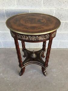 Vintage Louie Xv Style Marquetry Inlaid Accent Table