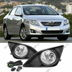 For 2009 2010 Toyota Corolla Pair Clear Bumper Driving Fog Lights Lamps W switch
