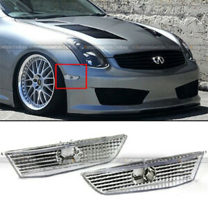 Fit 03 07 G35 Coupe Diamond Cut Chrome Housing Clear Bumper Side Marker Lights