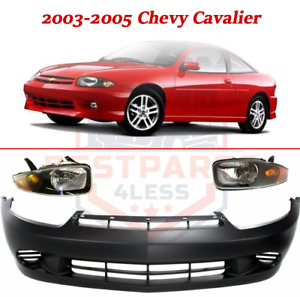 Front Bumper Cover Kit W Lh Rh Halogen Headlamps For 2003 2005 Chevy Cavalier