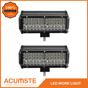 2x 7 480w Cree Flood Led Work Light Flush Mount Offroad Truck 4wd Driving Lamp
