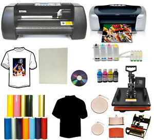 14 Laser Vinyl Cutter Plotter 5in1 Pro Heat Press printer Ciss Ink Tshirt Pack