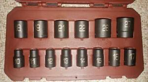 Matco Tools New 1 2 Dr 14 Piece 6pt Short Metric Impact Socket Set Scpm146v