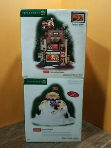 VIDEO!! Dept 56 Coca Cola Soda Fountain Malt Shop Sliding Hill Christmas Village