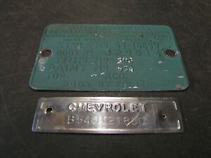 1954 54 Chevrolet Chevy 210 4 Door Cowl Data Body Tag Trim Code Plate