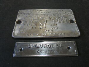 1953 53 Chevrolet Bel Air 2 Door Sport Coupe Cowl Data Body Tag Trim Code Plate
