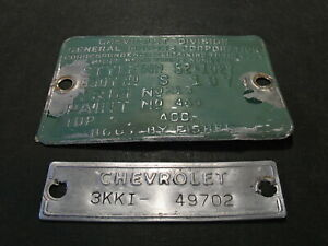 1952 52 Chevrolet Styleline Deluxe Coupe Cowl Data Body Tag Trim Code Plate