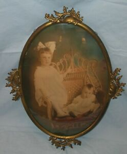 Antique Vintage Oval Metal Frame Gold Finish Children Photo Convex Glass 14x20