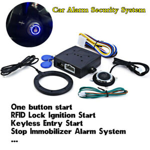 Car Alarm System Kit Keyless Start Push Button Rfid Lock Ignition Starter Engine