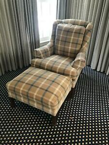 Hickory Chair Co Chippendale Style Wing Chair Ottoman Tartan Plaid