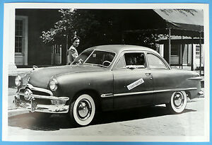1950 Ford Club Coupe 3 4 Front View 12 X 18 Black White Picture