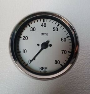 100 Mm Tachometer Smiths Replica 100 Mm Dia M18x1 5 Thread Clock Wise White