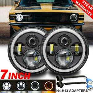 2x 7 Inch 280w Led Headlight Drl Angel Eyes Dot Lamp For Ford Mustang 1965 1973