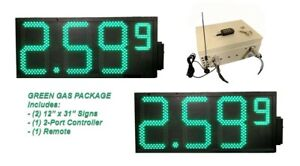 Led Gas Signs double Sides Remote Control high Brtness Green 12 Inch