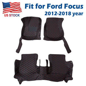 Black Leather Car Auto Front Rear Floor Mat Carpet Fit For Ford Focus 2012 2018