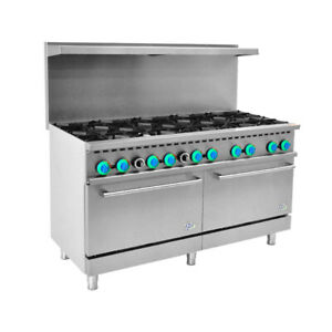 60 Commercial Gas Range 10 Top Burner With 2 Oven 366 000 Btu