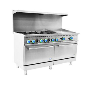 60 Commercial Gas Range 6 Top Burner With 24 Griddle And 2 Oven
