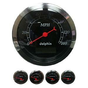 Dolphin Black 5 Gauge Electronic Speedometer Kit Hotrod streetrod ford chevy