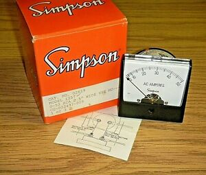 Vintage Simpson Panel Meter Model 1257 0 50 Vac Cat 21619 2 5 Wide Vue Md
