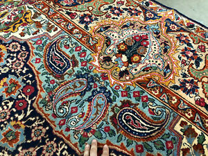 10x13 Vintage Rug Hand Knotted Wool Oriental Antique Blue Green Handmade 9x12 Ft