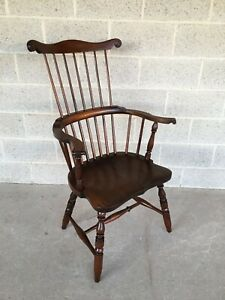Eldred Wheeler Maple Windsor Comb Back Arm Chair