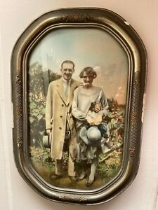 Vtg 1900s Curved Glass Picture Frame Couple Portrait