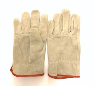 Leather Work Gloves Rn67368 100 Leather Medium Size M 2pairs