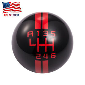 Black Red Car Manual Gear Shift Knob Shifter Lever 6 Speed Fit For Ford Mustang