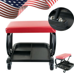 Mechanic Garage Creeper Seat Rolling Stool Chair Tray Storage Work Shop Tool Ce