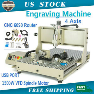 Usb 4 Axis 1 5kw Engraving Machine Cnc 6090 Router Wood Metal Mill Carver Cutter