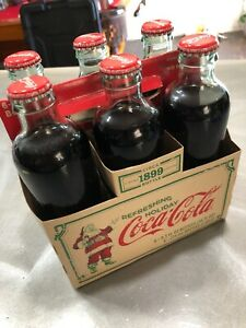 6 Pack 1899 Bottle 2007 Limited Edition Holiday Coca-Cola Glass Full Bottles