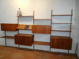Mid Century Modern Danish Teak Floating Wall Unit By Hansen Gulborg Ca 1960