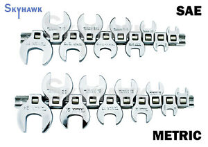 20pc 3 8 Drive Crowfoot Wrench Set With Holder Sae metric