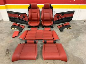 07 13 Oem Bmw E93 Convertible Red Heated Sport Seats W Seat Belts Door Cards