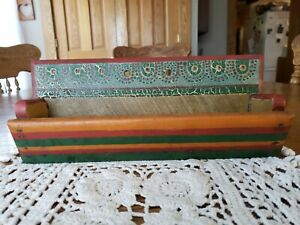 Antique Primitive Colorful Folk Art Hand Painted Candle Holder Wall Shelf