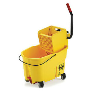 Rubbermaid Fg618688yel Wavebrake Mop Bucket And Wringer 11 Gal yellow