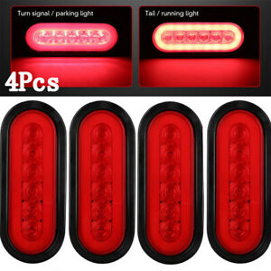 4x Trailer Truck Lights Led Sealed Red 6 Oval Stop Turn Tail Marine Waterproof