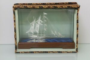 Ship Boat Figurine Sterling Silver Statue Sculpture 925 In Display Box