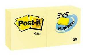 Post it 655 24vad Sticky Notes 3x5 In yellow pk24