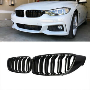 Gloss Black Kidney Grill Grille Twin Bar For Bmw 4 Series F32 F33 F36 M4 2014