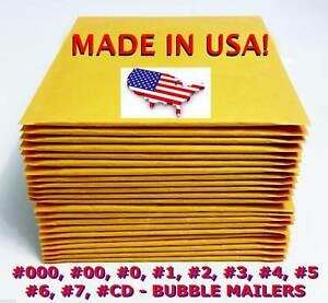 Kraft Yellow Bubble Mailers Padded Envelopes 0 1 2 3 4 5 6 7 00 000 Cd
