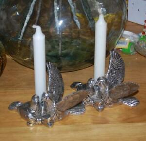 Dove Candle Holders Int L Silver Silverplate Pair Birds Taper
